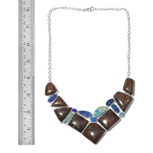 One Off A Kind- Australian Boulder Opal Rock and Opal Double Necklace (Size 18) in Sterling Silver 254.600 Ct. Silver wt 36.18 Gms.