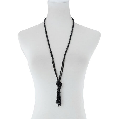 Black Glass Beaded Tassel Necklace (Size 40)
