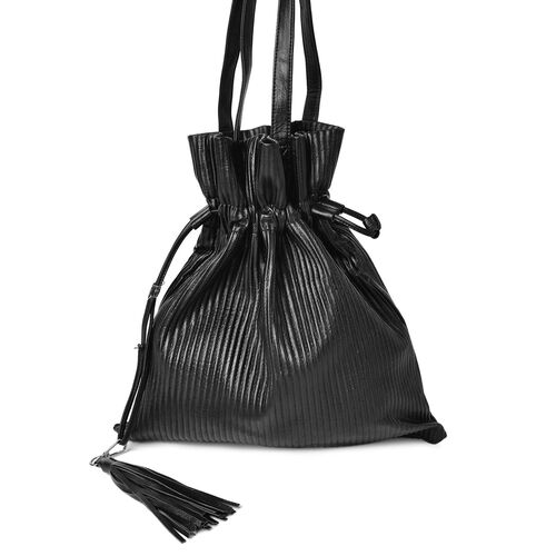 Black Colour Stripes Embossed Bucket Clutch Bag with Tassel Charm (Size 42X35 Cm)