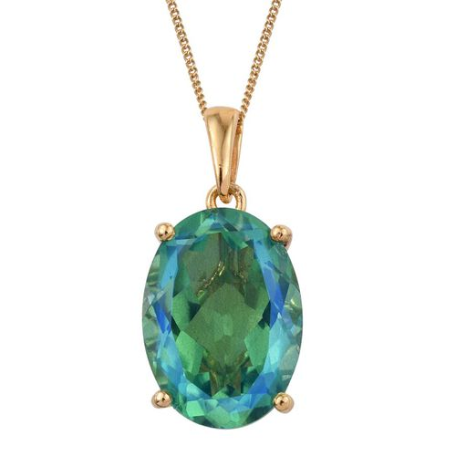 Peacock Quartz (Ovl) Pendant with Chain in 14K Gold Overlay Sterling Silver 12.000 Ct.