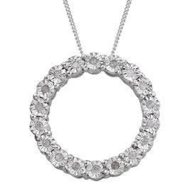 GP Diamond (Rnd), Kanchanaburi Blue Sapphire Circle of Life Pendant with Chain in Platinum Overlay Sterling Silver 0.175 Ct.