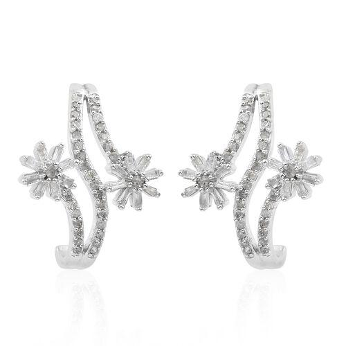 Designer Inspired-Diamond (Rnd and Bgt) Flower Earrings (with Push Back) in Platinum Overlay Sterling Silver 0.500 Ct.