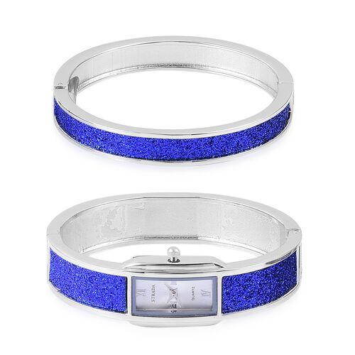 STRADA Japanese Movement Blue Stardust Watch and Bangle (Size 7.5) Set