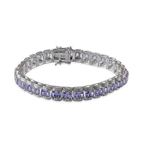 Tanzanite (Ovl), Diamond Bracelet in Platinum Overlay Sterling Silver (Size 8) 13.520 Ct.