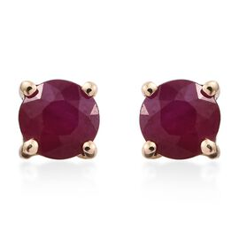 9K Yellow Gold AA Burmese Ruby (Rnd) Stud Earrings (with Push Back) 0.700 Ct.