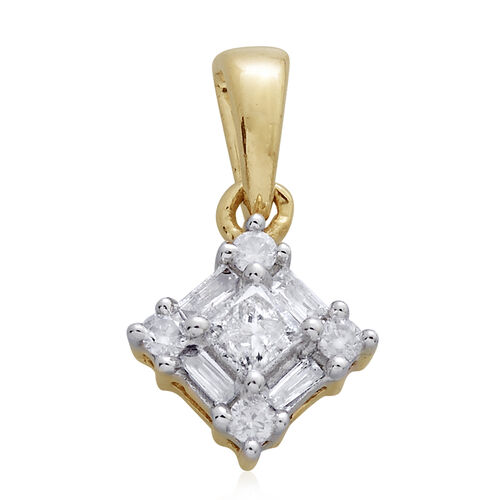 9K Yellow Gold SGL Certified .15ct Princess Diamond Pendant (I3/G-H)