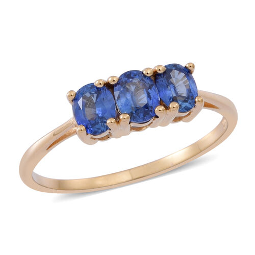 ILIANA 18K Y Gold Rare Natural Ceylon Sapphire (Ovl) Trilogy Ring 1.250 Ct.