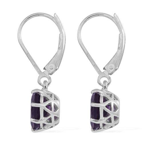 Lusaka Amethyst (Rnd) Lever Back Earrings in Rhodium Plated Sterling Silver 3.500 Ct.