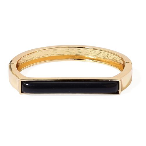 Designer Inspired-Simulated Black Jade Bangle (Size 7 to 7.5) Gold Plated