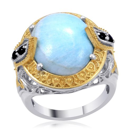 Designer Collection Chinese Blue Aragonite (Ovl 10.65 Ct), Kanchanaburi Blue Sapphire Ring in 14K YG and Platinum Overlay Sterling Silver 10.850 Ct.