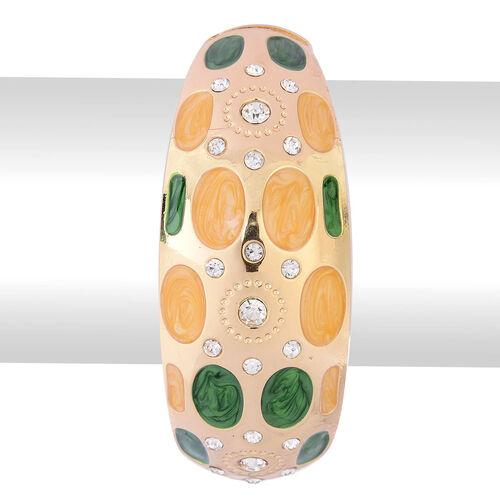 White Austrian Crystal Multi Colour Enameled Bangle (Size 7.5) in Gold Tone