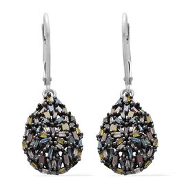 Rainbow Colour Diamond (Bgt) Tear Drop Lever Back Earrings in Platinum Overlay Sterling Silver 1.000 Ct.