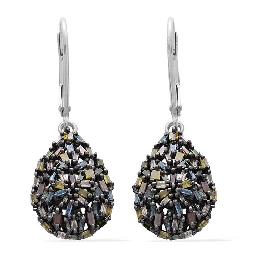 Rainbow Colour Diamond (Bgt) Tear Drop Lever Back Earrings in Platinum Overlay Sterling Silver 1.000 Ct.