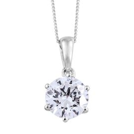 J Francis - Platinum Overlay Sterling Silver (Rnd 8mm) Solitaire Pendant With Chain Made with SWAROVSKI ZIRCONIA