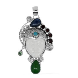 Princess Bali Collection OX Bone Carved Face, Green Jade, Himalayan Kyanite, African Ruby, Orissa Green Kyanite and Arizona Sleeping Beauty Turquoise Pendant in Sterling Silver 18.194 Ct.