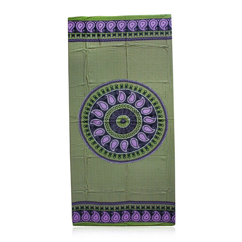 Bali Collection - Green, Pink and Black Colour Ethnic Mandala Paisley Motif Sarong with Sequin (Size 160X110 Cm)