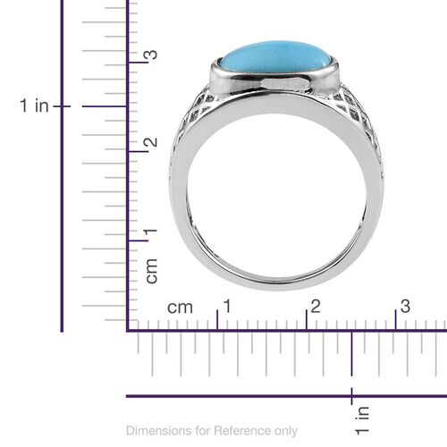 Arizona Sleeping Beauty Turquoise (Cush) Solitaire Ring in Platinum Overlay Sterling Silver 3.500 Ct.