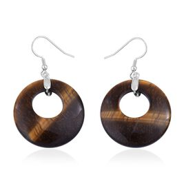 Tigers Eye Round Hook Earrings in Rhodium Plated Sterling Silver 51.500 Ct.