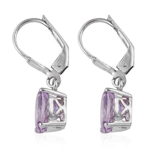 Rose De France Amethyst (Ovl) Lever Back Earrings in Platinum Overlay Sterling Silver 3.500 Ct.