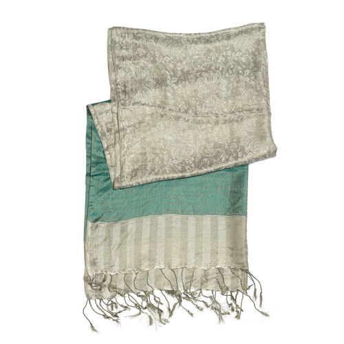 Superfine Silk Blend - Floral Pattern Grey and Green Colour Scarf (Size 210x80 Cm)