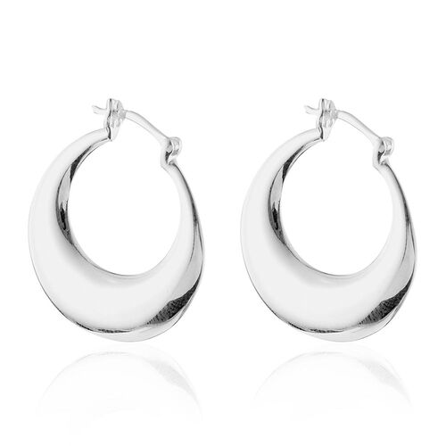 Designer Inspired Sterling Silver Hoop Earrings (with Clasp) - Silver Wt 4.06 Gms