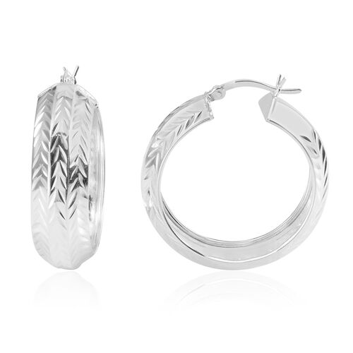 (Option 1) JCK Vegas Collection Sterling Silver Hoop Earrings (with Clasp), Silver wt 4.70 Gms.