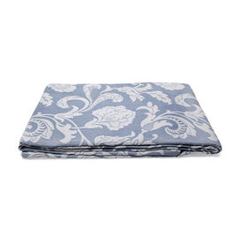 Egyptian Cotton King Size Pique Bedcover with Big Woven Flowers, Made in Portugal (Size 240X260 cm) - Light Blue