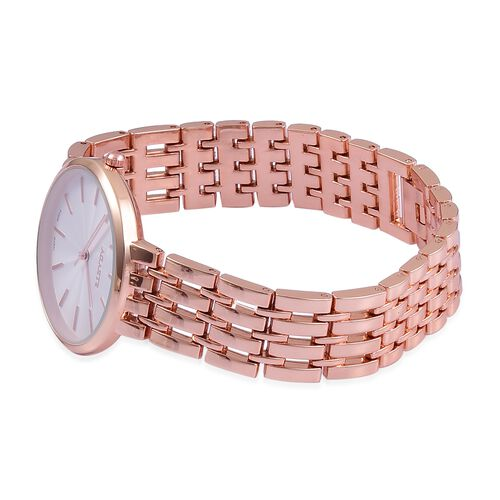 STRADA Urban Style White Finished Rose Gold Tone Metal Strap Watch