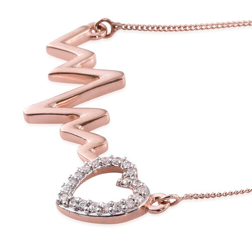 J Francis - Platinum and Rose Gold Overlay Sterling Silver Heart Beat Necklace (Size 18) Made with SWAROVSKI ZIRCONIA