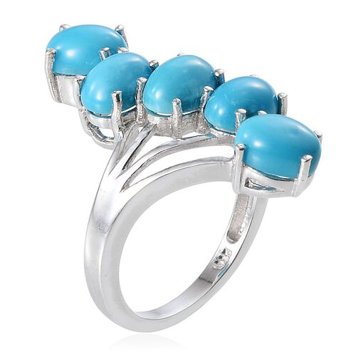 Arizona Sleeping Beauty Turquoise (Ovl) 5 Stone Crossover Ring in Platinum Overlay Sterling Silver 4.500 Ct.