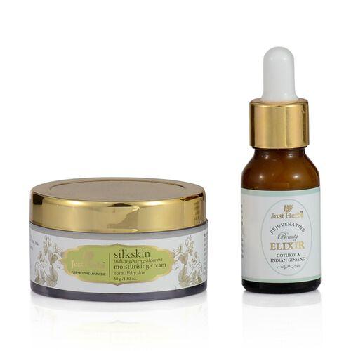 (Option 1) Just Herbs Gotukola Indian Ginseng Rejuvenating Beauty Elixir (15ml) and Silkskin Indian Ginseng Moisturising Cream ( Dry) (30g)