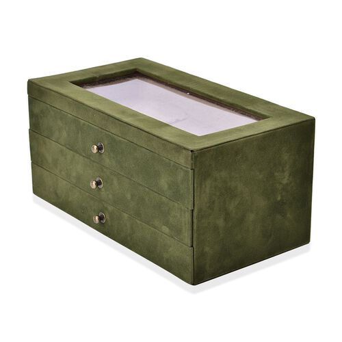 Green Colour 3 Drawer Jewellery Box (Size 29x16x14 Cm)