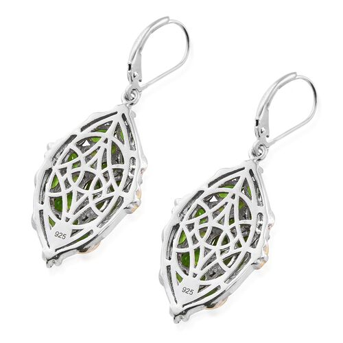 Russian Diopside (Ovl) Lever Back Earrings in Platinum and 14K Gold Overlay Sterling Silver 6.250 Ct.