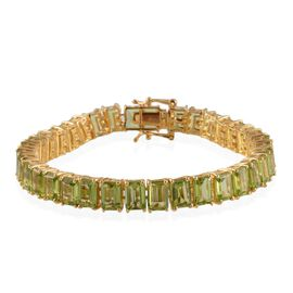 Hebei Peridot (Oct) Bracelet in 14K Gold Overlay Sterling Silver (Size 7.5) 35.000 Ct.