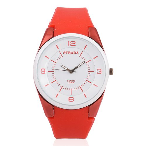 STRADA Japanese Movement White Dial Water Resistant Watch in Neon Red Tone with Red Colour Silicone Strap