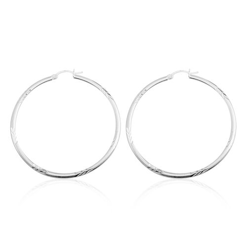Vicenza Collection-Sterling Silver Diamond Cut Hoop Earrings (with Clasp), Silver wt. 4.30 Gms.