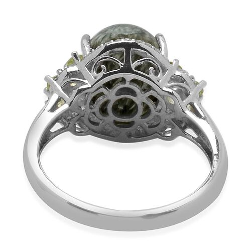 Siberian Seraphinite (Ovl 5.00 Ct), White Topaz and Hebei Peridot Ring in Platinum Overlay Sterling Silver 5.250 Ct. Silver wt. 3.22 Gms.