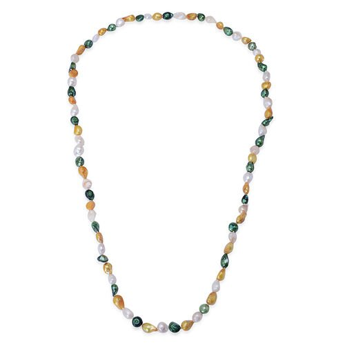 Dyed Green, White and Orange Colour Keshi Pearl Necklace (Size 36)