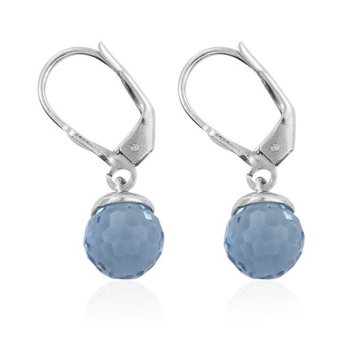 J Francis Crystal from Swarovski - Aquamarine Colour Crystal Lever Back Earrings in Platinum Overlay Sterling Silver