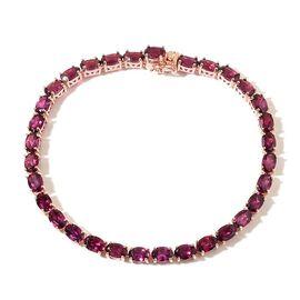 Odisha Rhodolite Garnet (Ovl) Tennis Bracelet (Size 7.5) in Rose Gold Overlay  Sterling Silver 17.500 Ct.