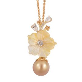 Jardin Collection- South Sea Golden Pearl (Rnd 10-11mm), Yellow Mother of Pearl, Citrine and Multi Gemstone Pendant with Chain in Yellow Gold Overlay Sterling