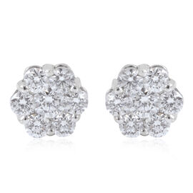 RHAPSODY 950 Platinum IGI Certified Diamond (Rnd) (E-F/VS) Floral Stud Earrings (with Screw Back) 0.750 Ct.