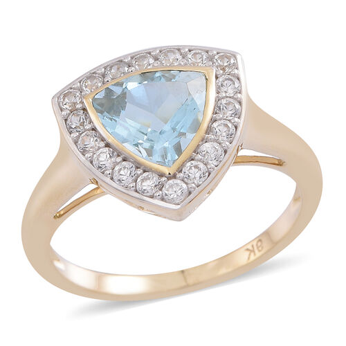 9K Y Gold AA Santa Maria Aquamarine (Trl 1.50 Ct), Natural Cambodian White Zircon Ring 2.000 Ct.