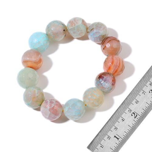 Multi Agate Enhanced Stretchable Bracelet (Size 7.5) 330.300 Ct.