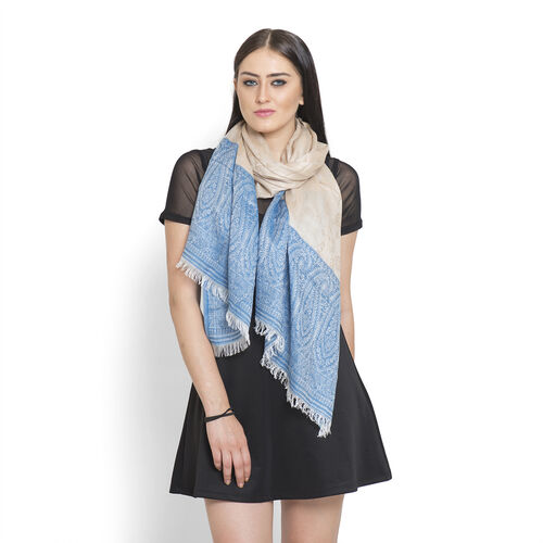 100% Superfine Modal Floral Pattern Blue, Beige, and White Colour Jacquard Scarf (Size 180x70 Cm)