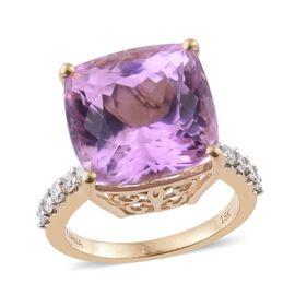 ILIANA 18K Yellow Gold 15.25 Ct AAA Kunzite Cushion Ring with Diamond SI G-H
