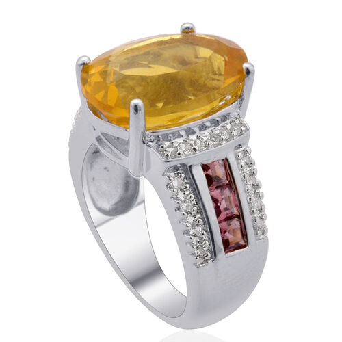 Yellow Fluorite (Ovl 6.65 Ct), Indian Garnet and White Topaz Ring in Platinum Overlay Sterling Silver 7.750 Ct.