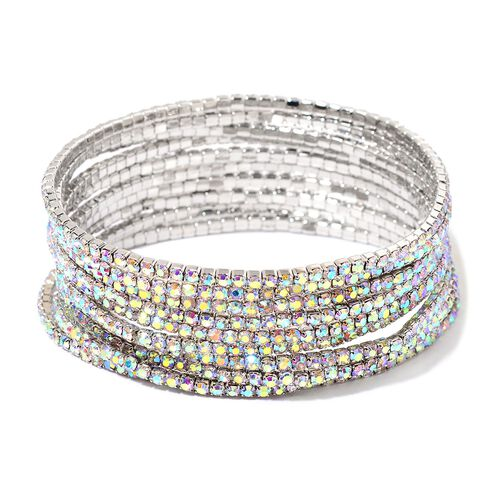 Set of 10 - Designer Inspired - AB Colour Crystal Stretchable Bracelet (Size 7.5) in Silver Tone