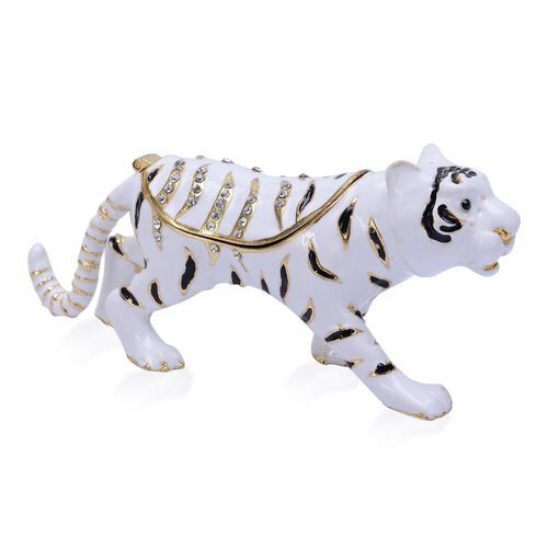 AAA Black and White Austrian Crystal Studded White, Black and Gold Enameled Tiger Trinket Box