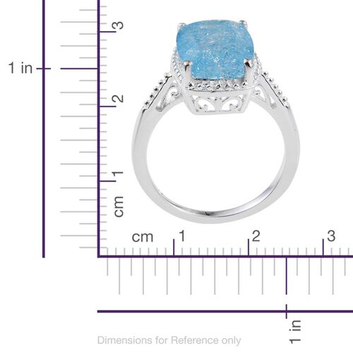 Blue Crackled Quartz (Cush) Solitaire Ring in Sterling Silver 6.750 Ct.